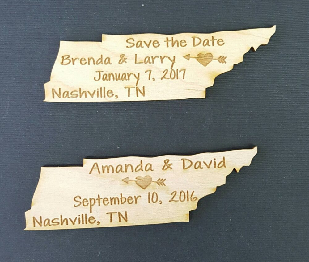 50 Save The Date Wedding Favor, Tennessee State Magnets - Bride, Groom, Gift, Date, Rustic, Custom, United States