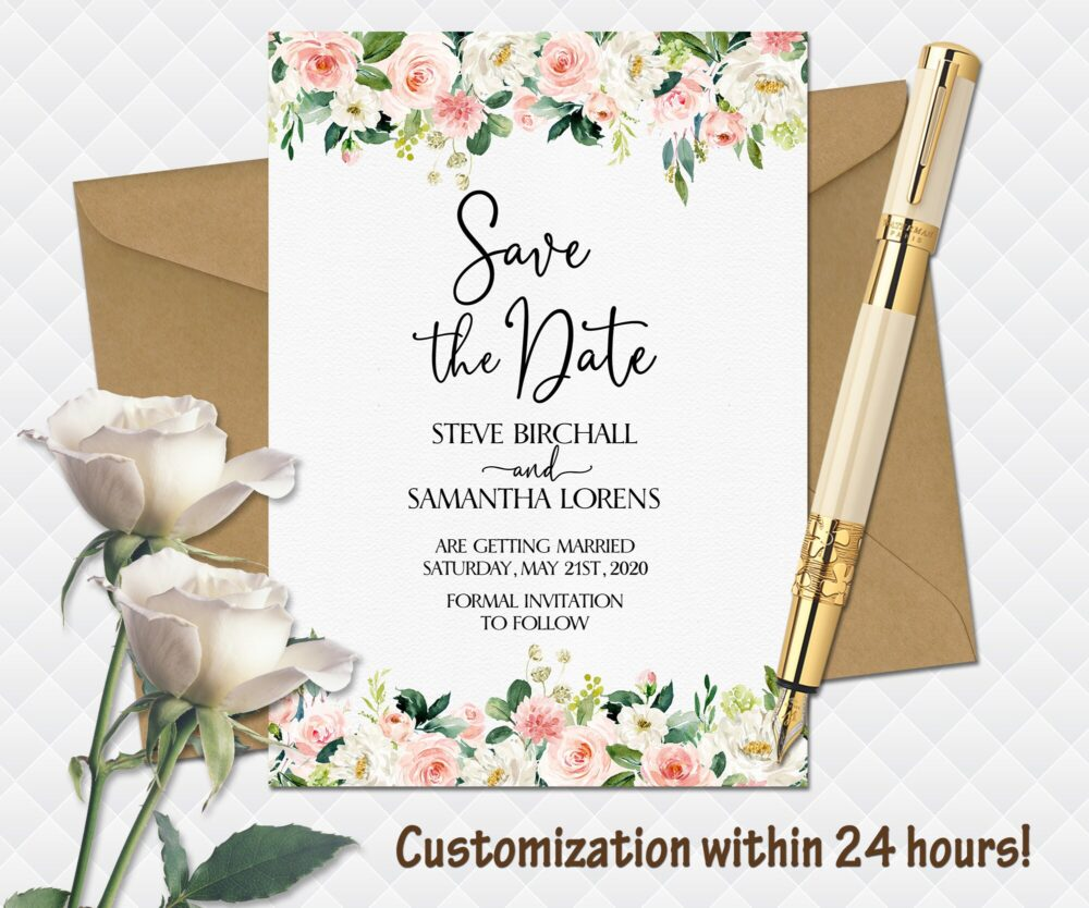 Floral Wedding Save The Date Printable Boho Bohemian Date White Roses Bouquet Peonies Cards Pink Calendar