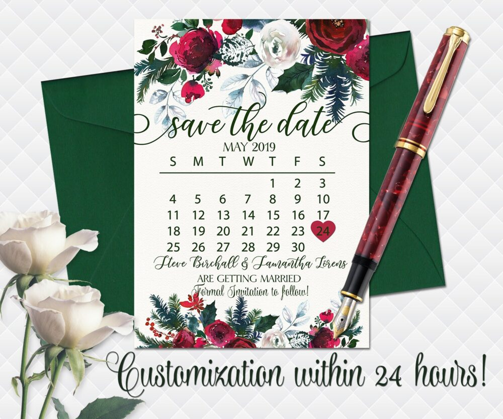 Christmas Wedding Save The Date Printable Red Green Floral Date Bohemian Roses Bouquet Peonies Cards Calendar