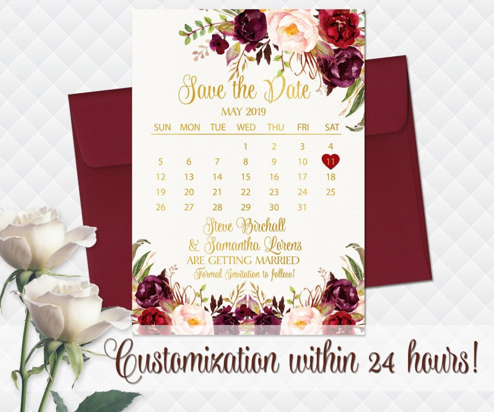White Wedding Save The Date Printable White Green Floral Date Bohemian Roses Bouquet Peonies Cards Calendar