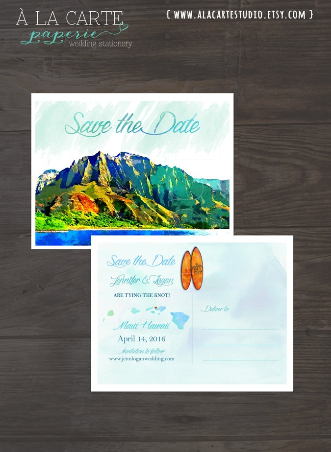 Destination Wedding Invitation Hawaii Wedding Watercolor Save The Date Card Postcard Illustrated Save Date Deposit Payment