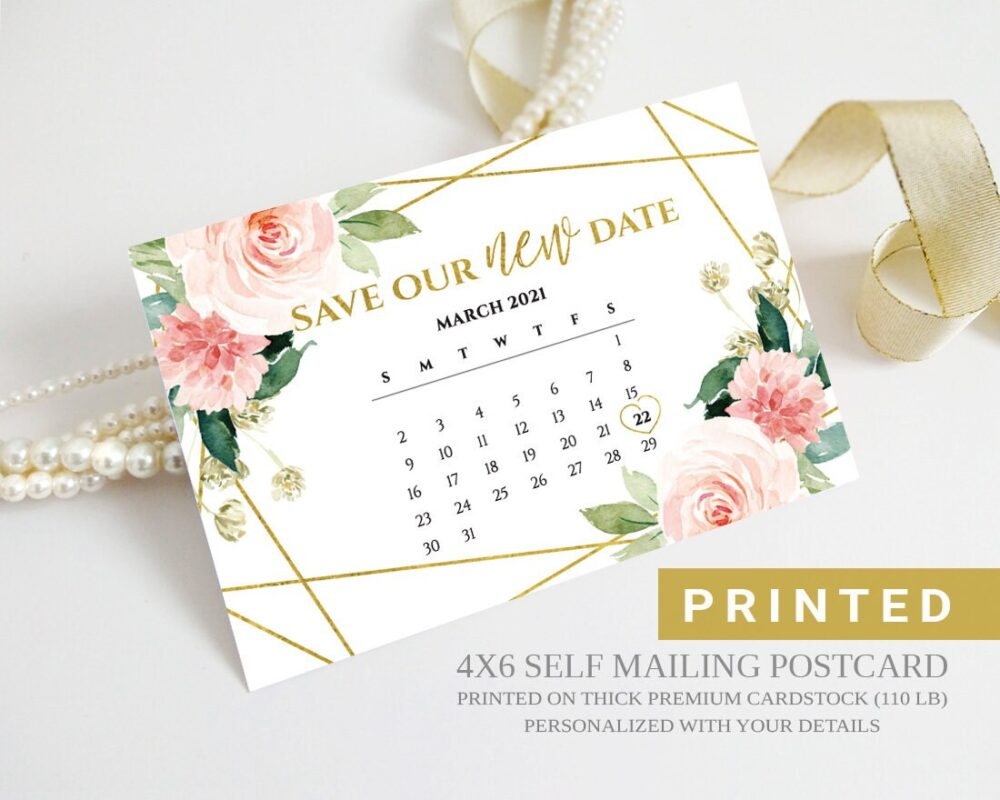 New Date Postponed Wedding Save The Postcards | Floral Calendar Our New Cards