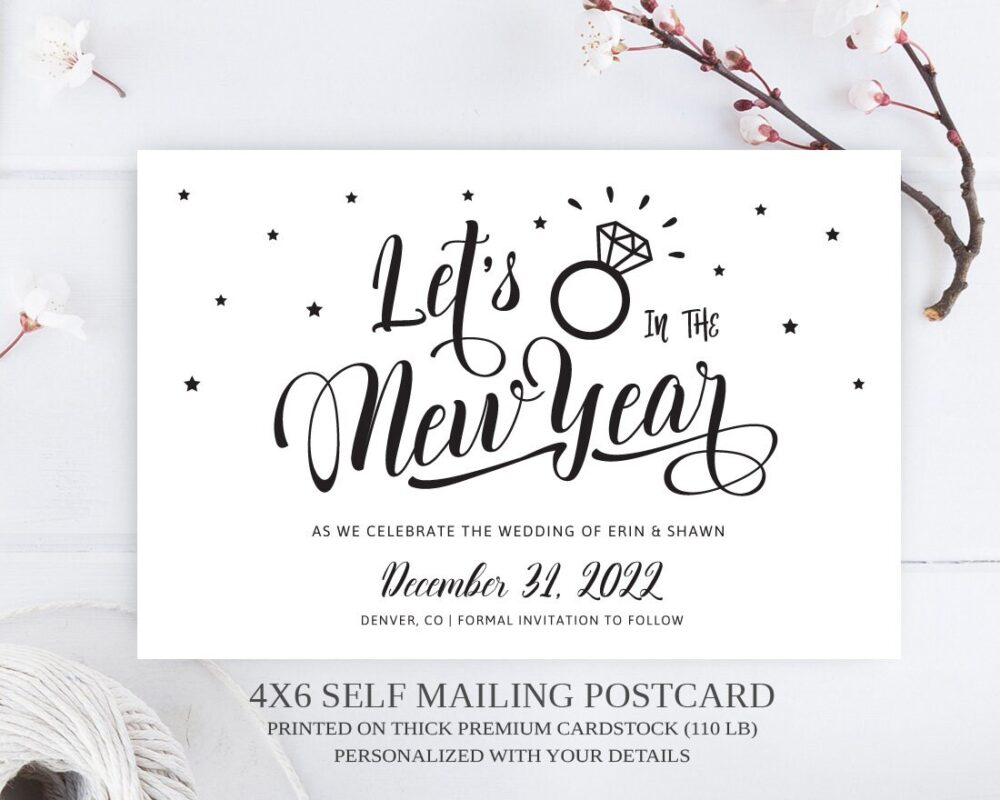 Printed | New Year's Eve Wedding Save The Date Postcard/Let's Ring in New Year - Personalized Postcards