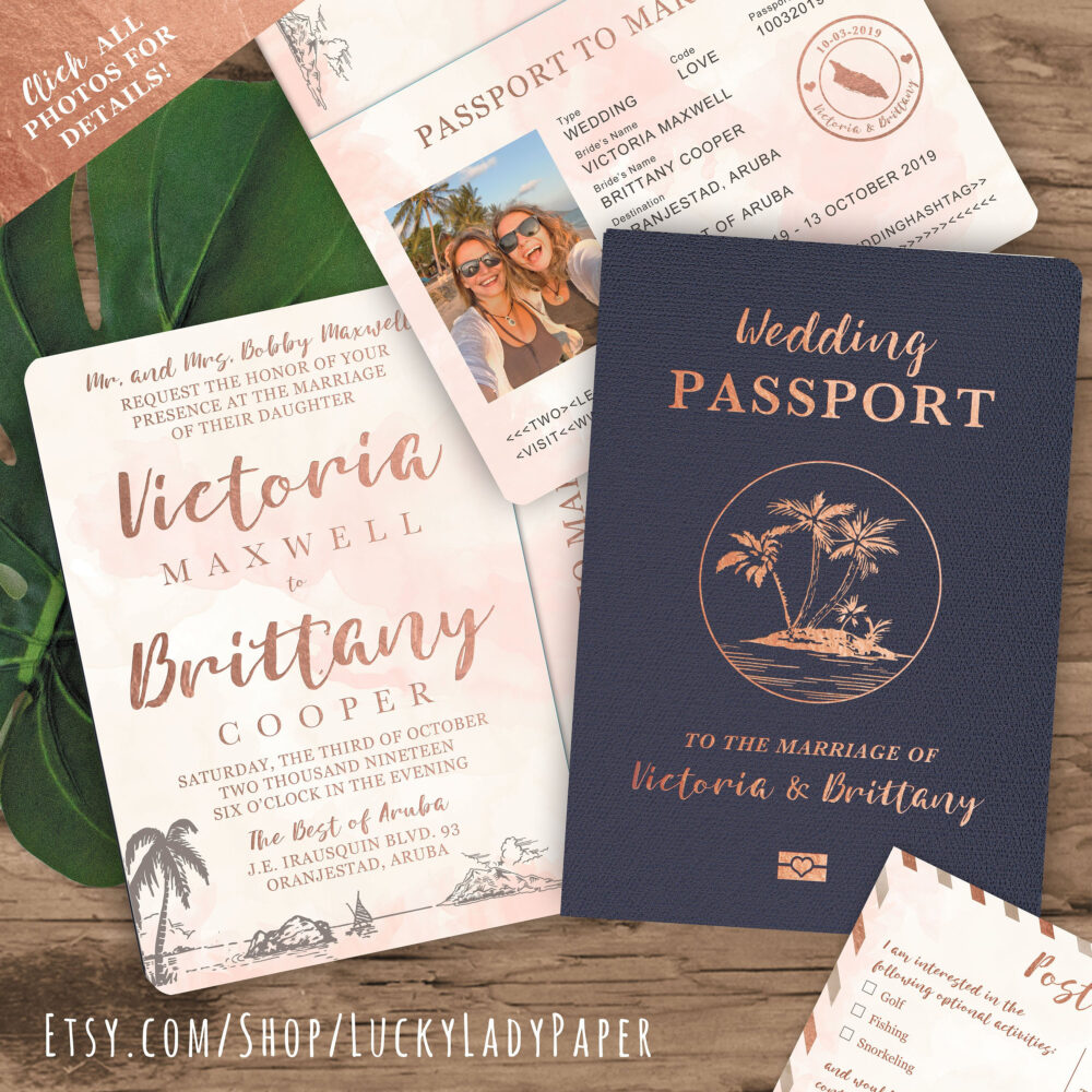 Tropical Destination Wedding Passport Invitation Set With Boarding Pass Or Airmail Rsvp in Rose Gold Watercolor - See Details To Order