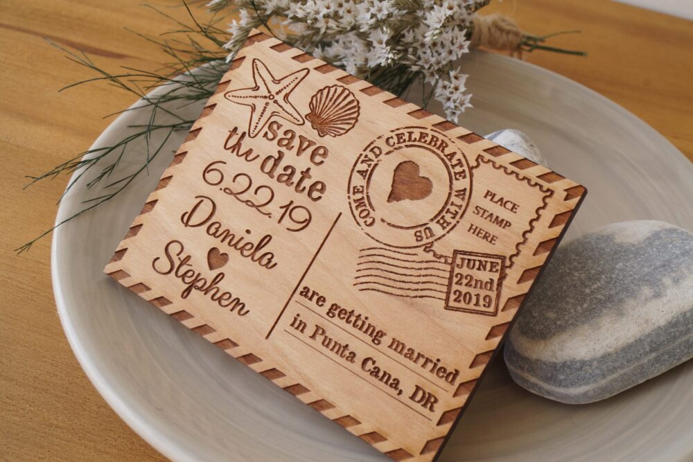 Save The Date Magnets - Beach Wedding Save Dates Seashell Design Invitations 10 Pc