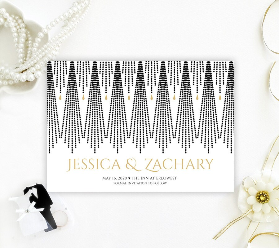 Printed Save The Date Card For Wedding   Gold & Black Save Date Invitations Elegant Artd Deco Dates With Envelopes
