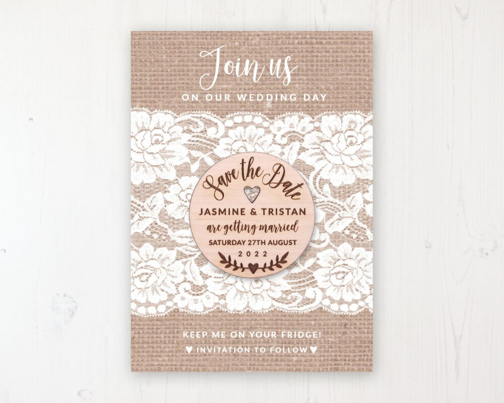 Save The Date Magnet With Card & Envelope - Chantilly Lace Round Wooden Magnets Personalised Dates