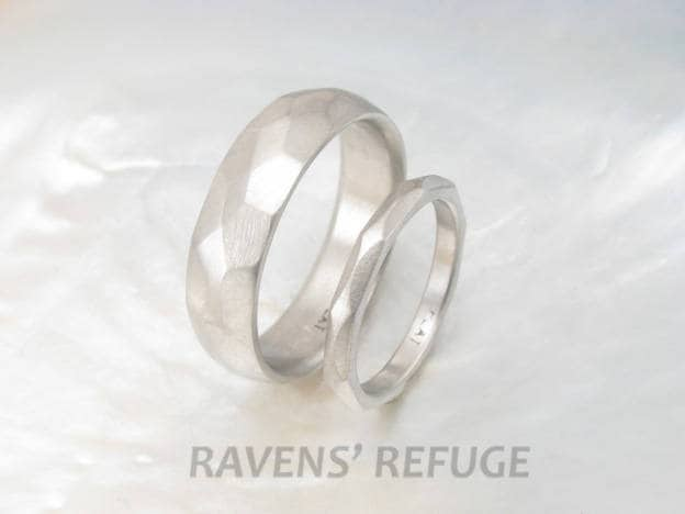 Faceted Platinum Wedding Band Set His & Hers Textured Rings