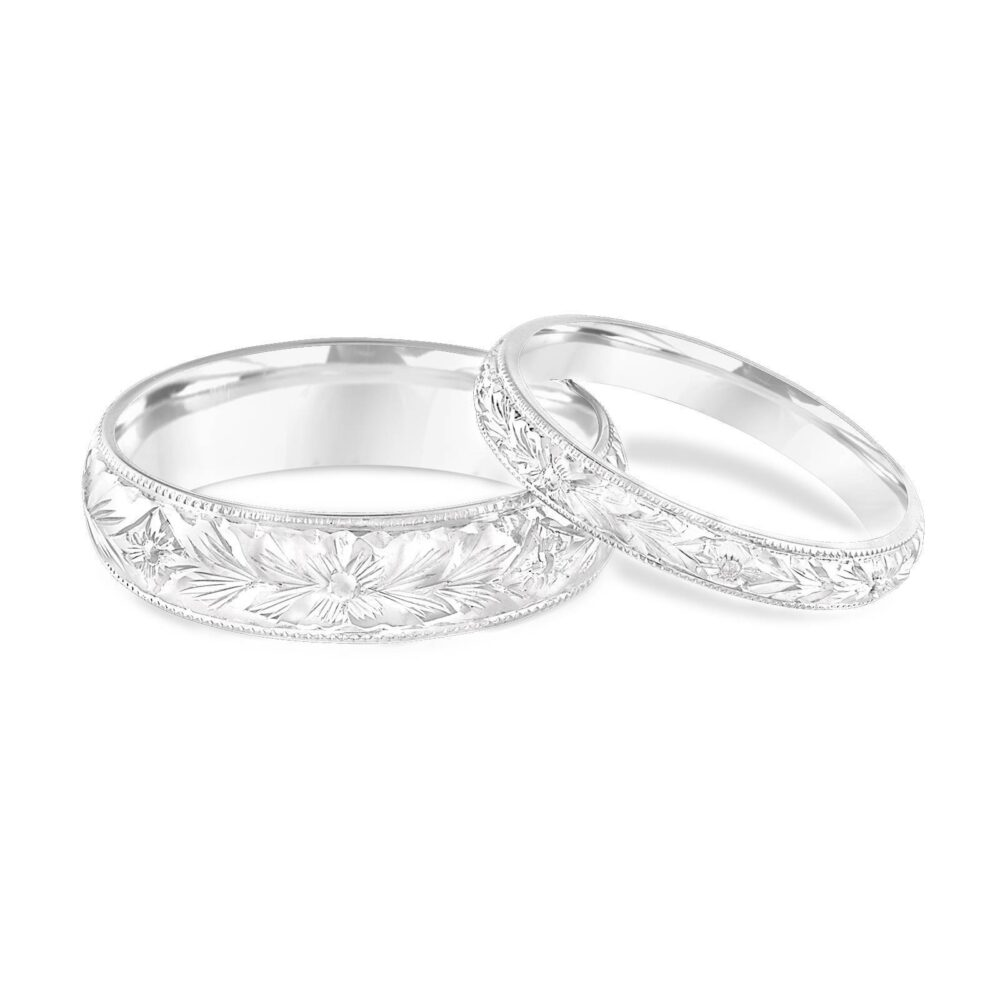 Platinum Matching Wedding Rings, His & Hers Bands, Hand Engraved, Couple Bands Set, Vintage Handmade
