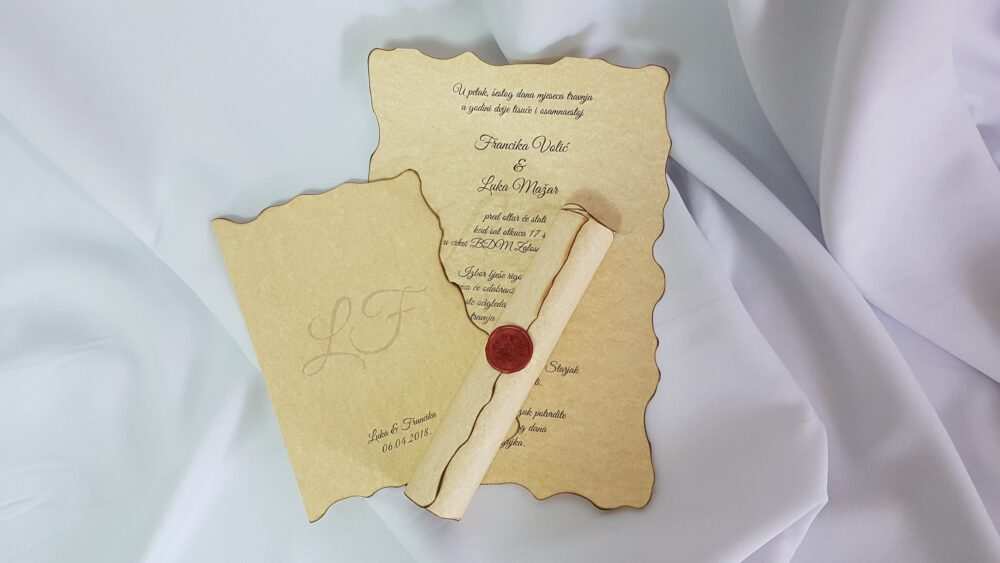 Vintage Wedding Scroll Invitation Handmade With Wax Seal Stamp, 70-120 Pieces