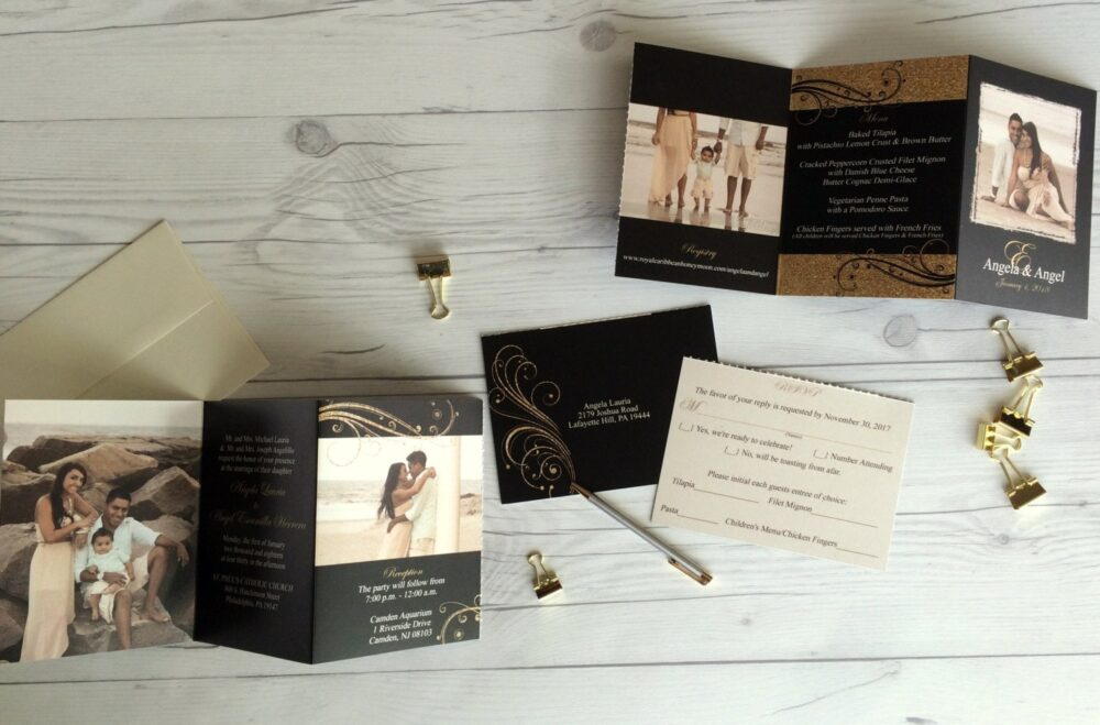 Black & Gold Wedding Invitation Suite Accordion Fold All in One Tear Off Rsvp Cards Photo Invitations | 177