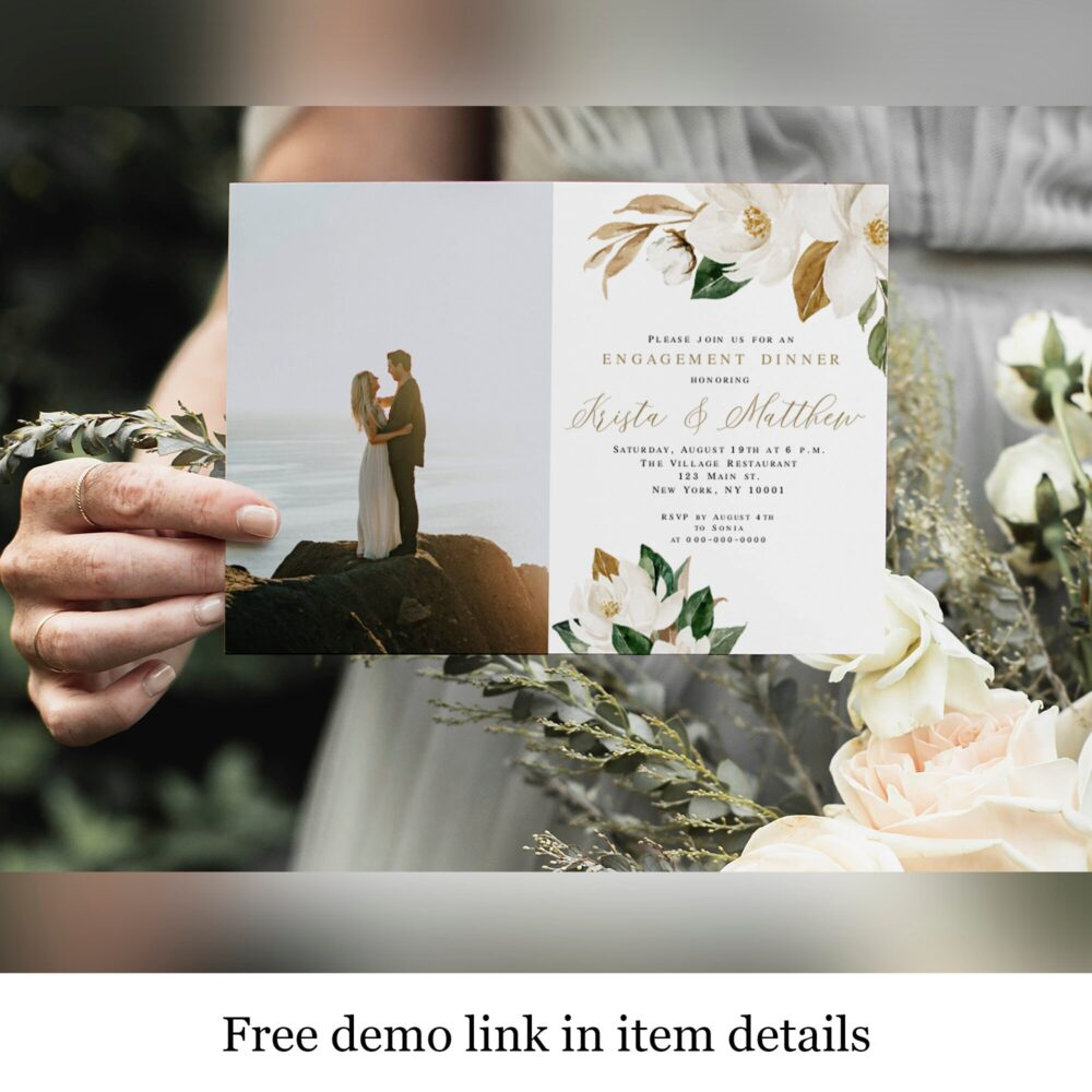 Wedding Engagement Dinner Invitation Template, Fully Editable, With Photo, Picture, White Magnolia Floral, Cotton, Ivory & Gold #vmt4222