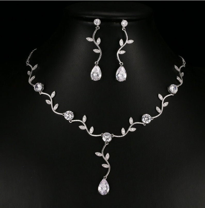 Bridal Jewelry Set Leaf Bridal Necklace, Cz Necklace & Earrings, Wedding Climbing Vine Jewelry Bridesmaid Mother Of Bride Gift