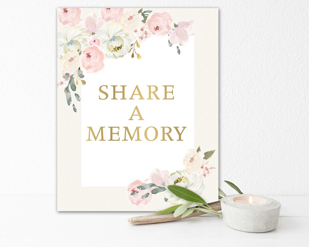 Share A Memory Sign, Printable Celebration Of Life Favorite Memory Poster, Memorial Funeral Sign Blush Flowers 8 X 10, Decor