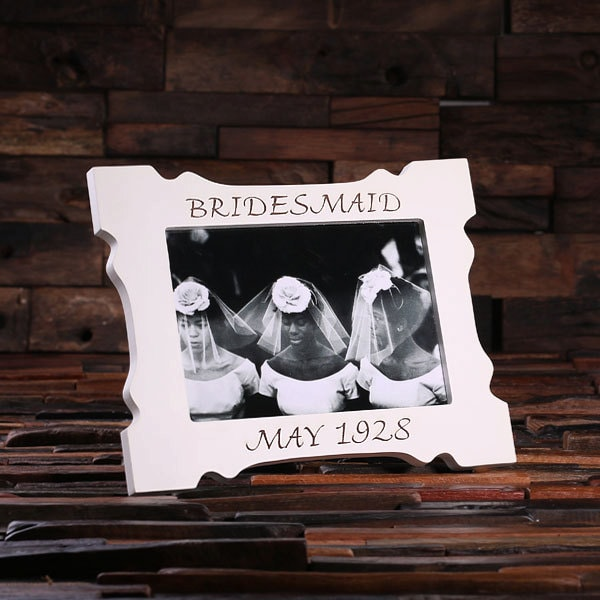 5 X 7 Personalized White Wood Engraved Monogrammed Bridesmaid, Maid Of Honor, Bridal Picture Photo Frame | 024292-5X7
