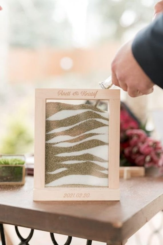 Modern Wooden Unity Wedding Sand Ceremony Photo Frame - Minimalist Outdoor Picture Personalization Option