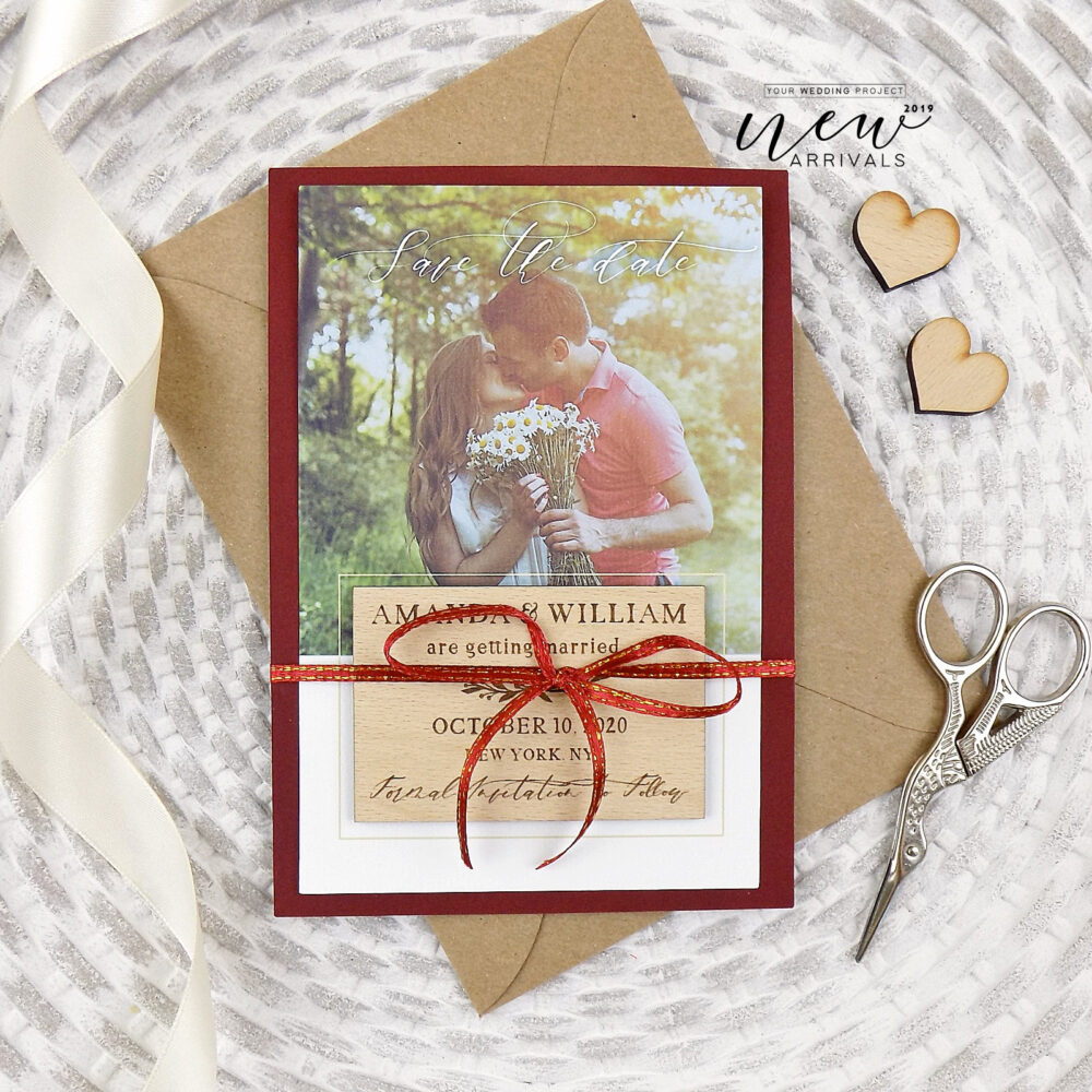 Photo Save The Date Magnet, Wood Wedding Burgundy Invitation, Modern Our Date, Custom Wooden Favors