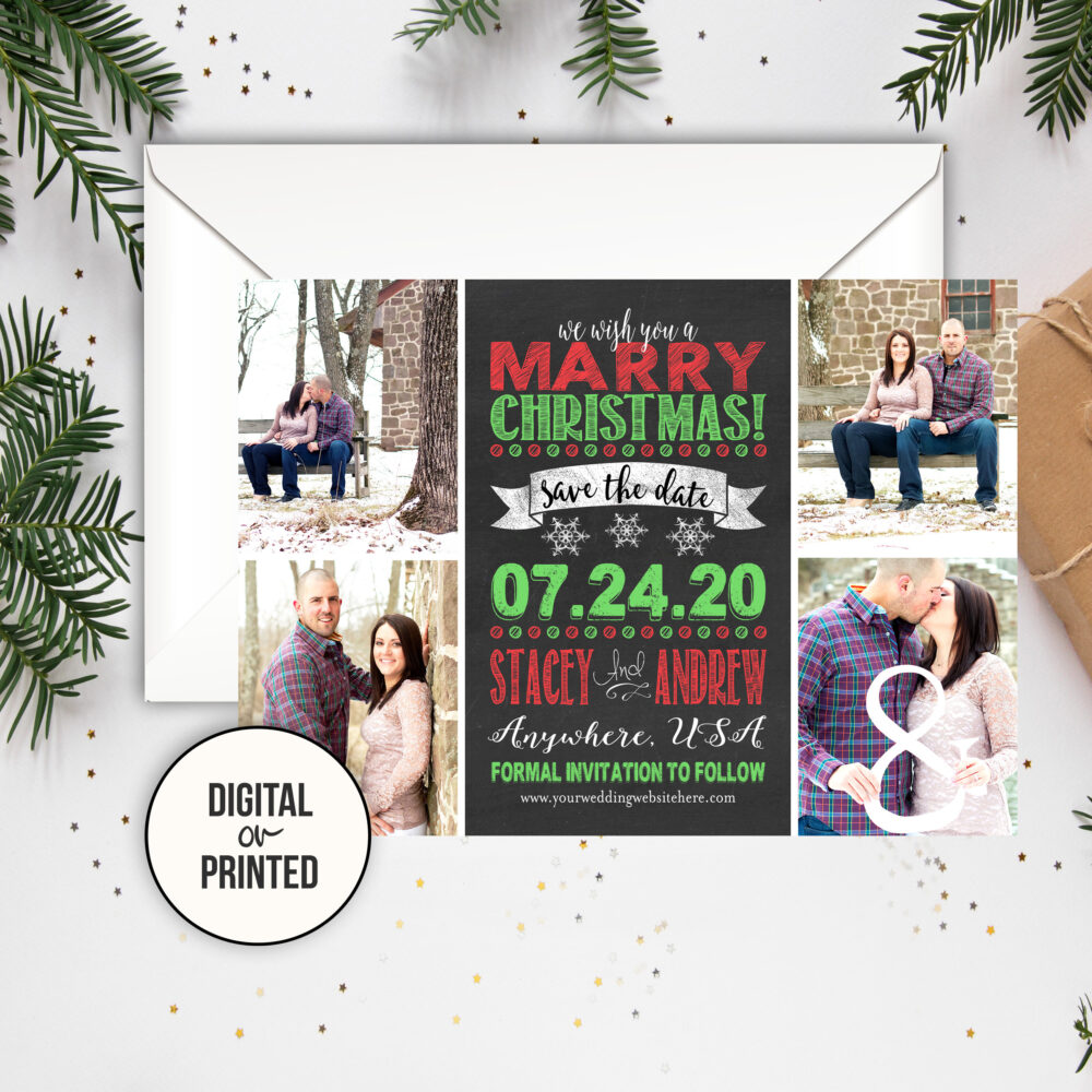 Christmas Save The Date Wedding Photo The Dates Marry Printable