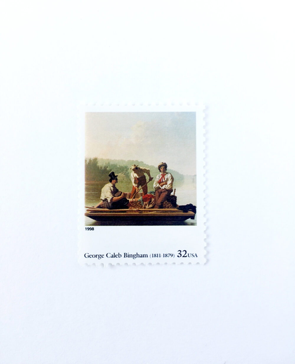 """5 """"Boatmen On The Missouri"""" By G.c. Bingham Postage Stamps // Unused 32 Cent Stamp Four Centuries Of American Art Wedding Postage"""