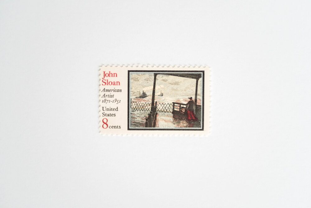 10 John Sloan Postage Stamps // Unused The Wake Of The Ferry 8 Cent Stamp American Artist Wedding Postage Vintage