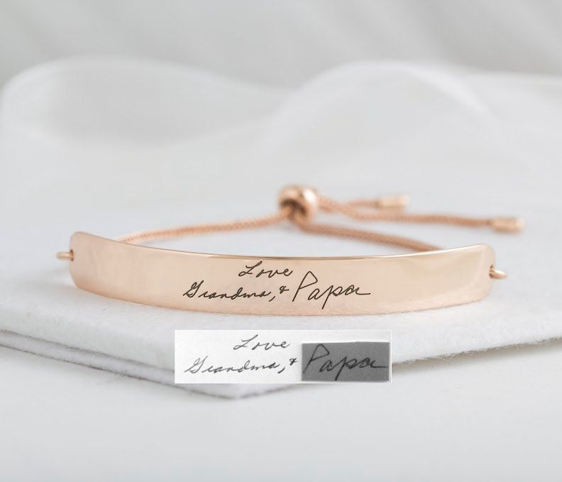 Actual Handwriting Curved Bar Bracelet - Slider Signature Wedding Jewelry- Mother's Gift Christmas Gift