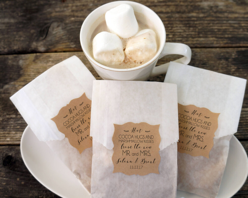 Hot Cocoa Wedding Favor, Chocolate & Marshmallow Bags, Personalized Kraft Paper Stickers, Fall Wedding, Winter Bridal Shower