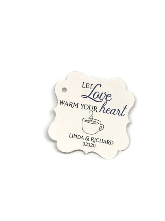 """2"""" Pick Your Cardstock-Wedding Favor Tags, Wedding Tags, Hot Cocoa Favor Thank You Tags Chocolate, Love Warm Heart"""