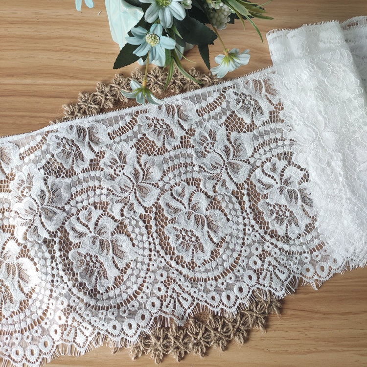3.3 Yards Lace Trim French Chantilly Style Delicate White Flower Scalloped Fabric cm Width