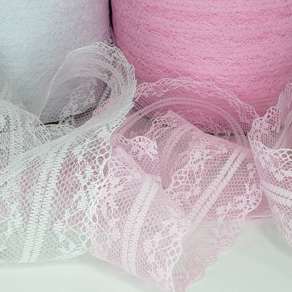 """Pink Or White Lace Trim, 2 Yard Lot Of Sheer Flat 1.5"""" Net Mesh Lace, Great For Diy Sewing Scrapbook Junk Journal, Scrap Book Fabric Crafts"""