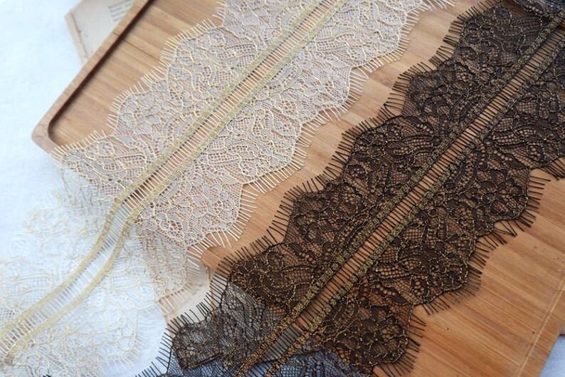 3.3 Yards Lace Trim French Chantilly High-Grade White Black Gold Line Eyelash Decoration Delicate Fabric 10cm Width