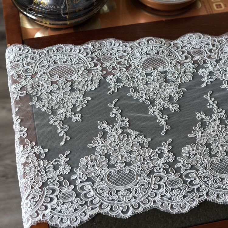 1 Yard Lace Fabric For Wedding Dress, Embroidery Floral Trim Barbie Doll Dress, Bridal Dress Accessorie, Veil