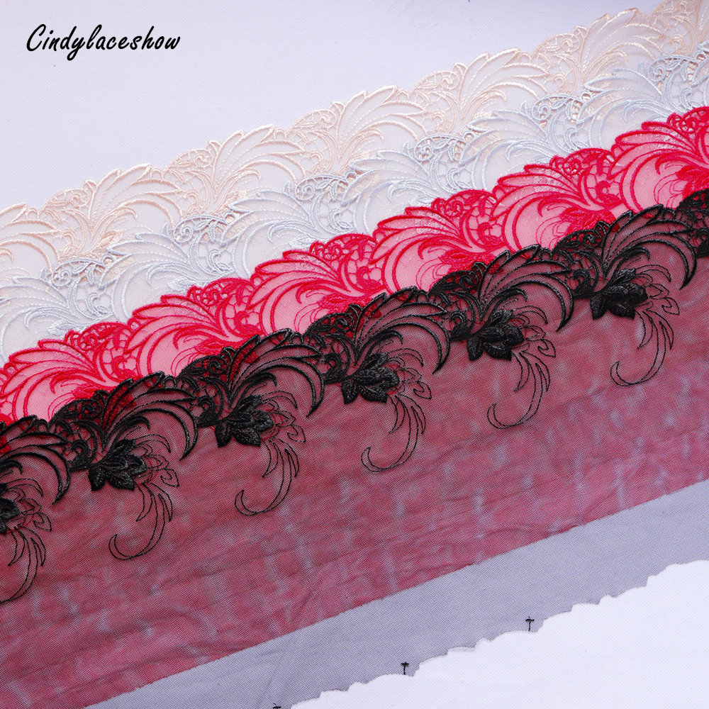2 Yards Lace Trim Vintage Floral Embroidered Red Black Gray Champagne Tulle 8.6 Inches Wide Guipure Trimmings Dress Decor Diy
