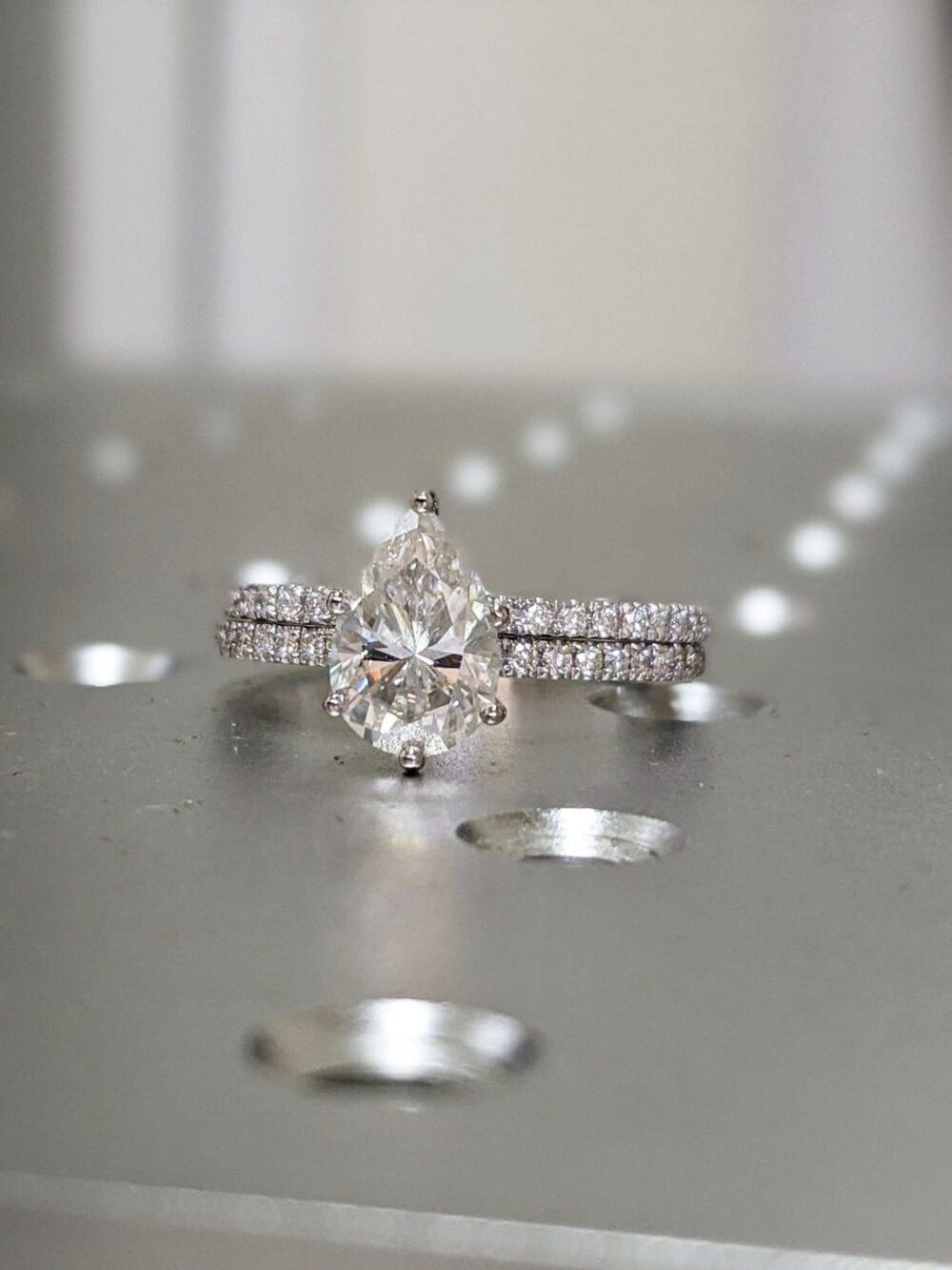 14K Solid Gold Engagement Ring Set 1.25Ct Pear Moissanite Wedding Ring/Moissanite Ring/stack Ring/Promise Ring/Bridal