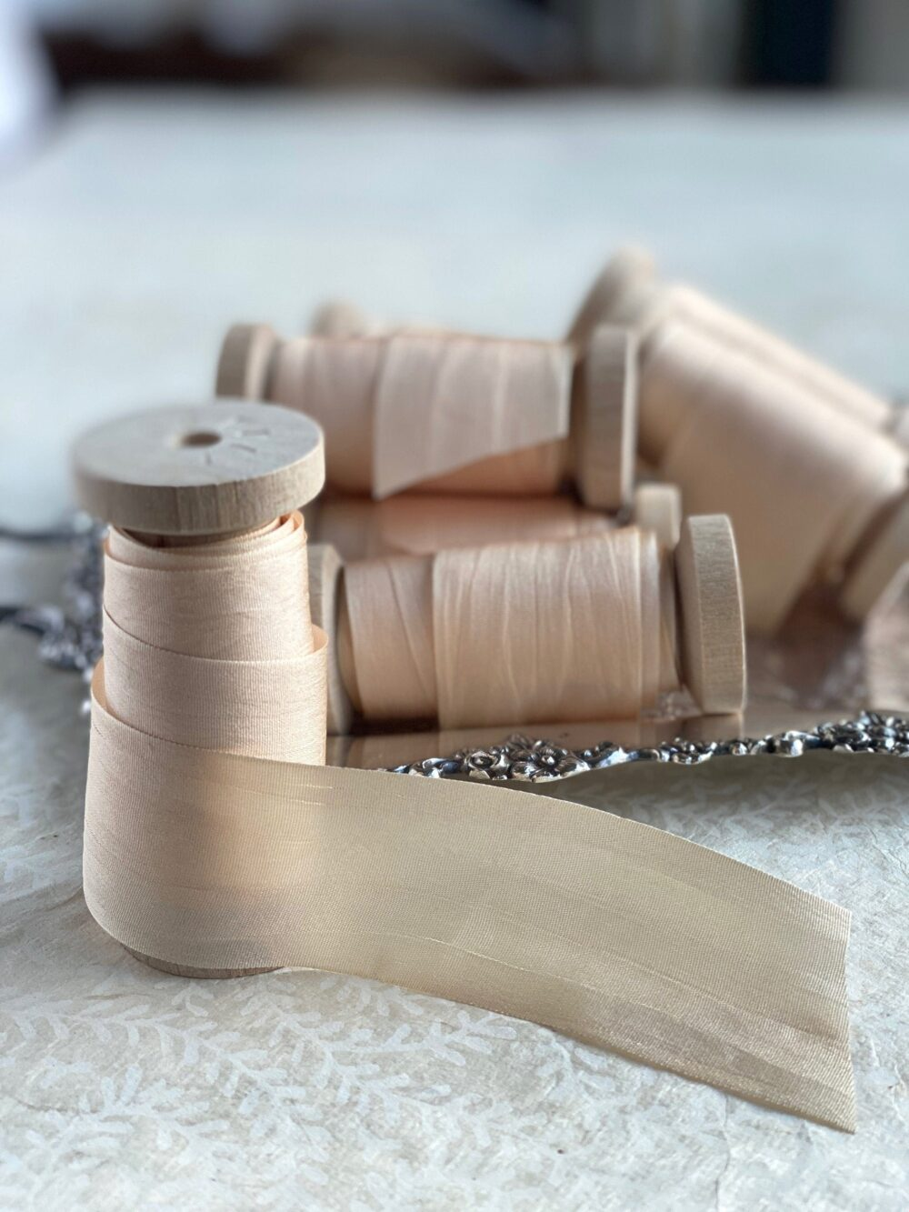 """Champagne Silk Ribbon Spool, Hand Dyed , 1.25"""" Wide Ribbon"""