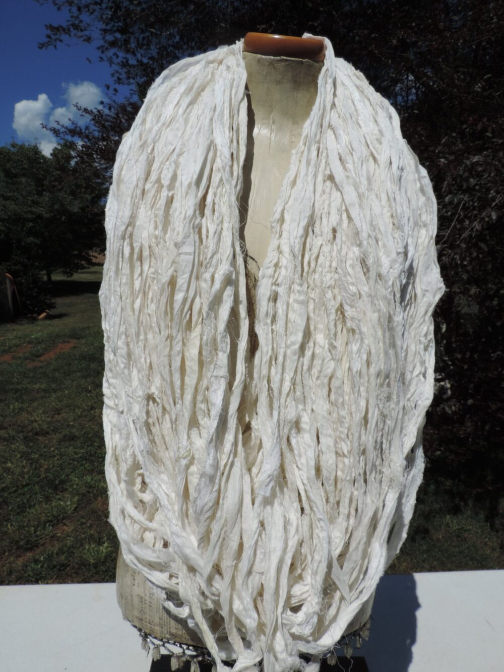 New Arrival Pure White With Shimmers Recycled Chiffon Silk Ribbon Aprox 50 Yards