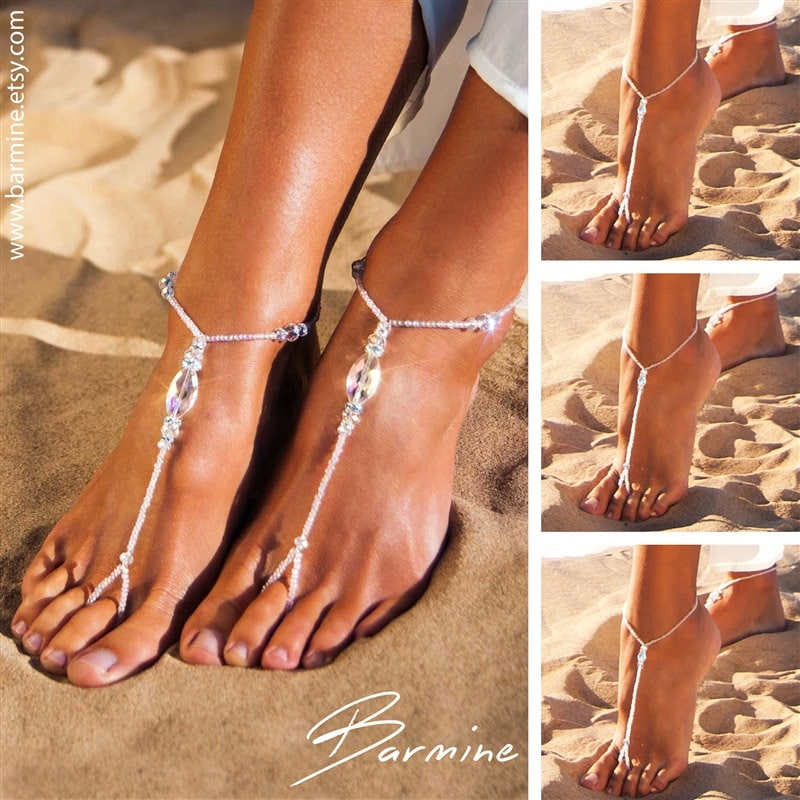 Wedding Party Set Bride Jewelry Bridesmaid Barefoot Sandals Swarovski Crystals Footless Bridal Accessories Shoes