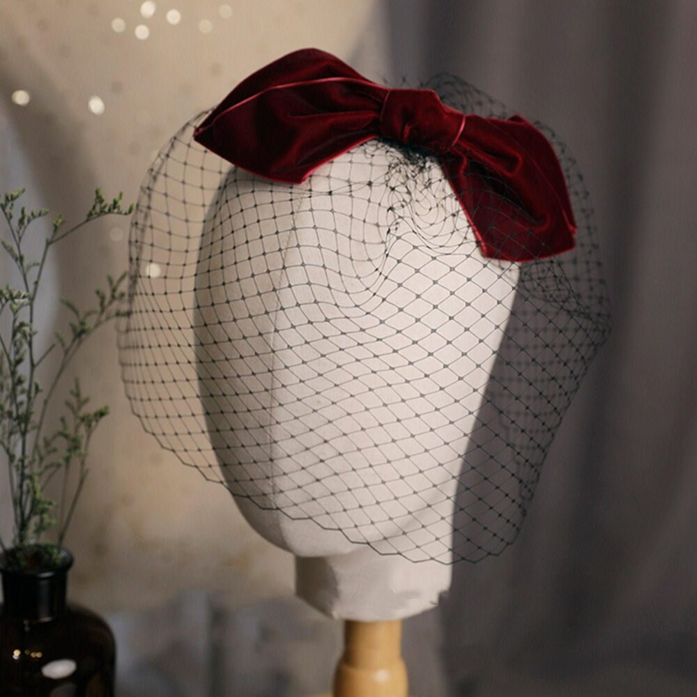 Black Red Birdcage Veil , Vintage Cage Veil, Retro Style Hair Accessory Headpiece, Bouffant Full Face Weddings Blusher Gift