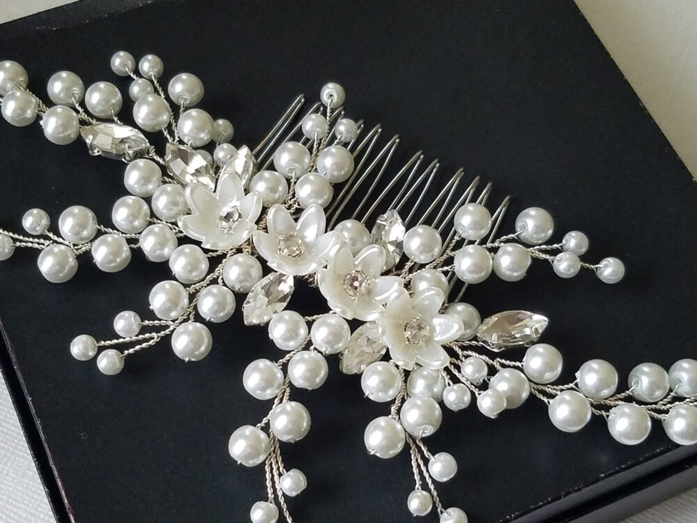 Wedding Hair Comb, Bridal Pearl Crystal Hairpiece, Floral Headpiece, Jewelry, Piece, Accessories
