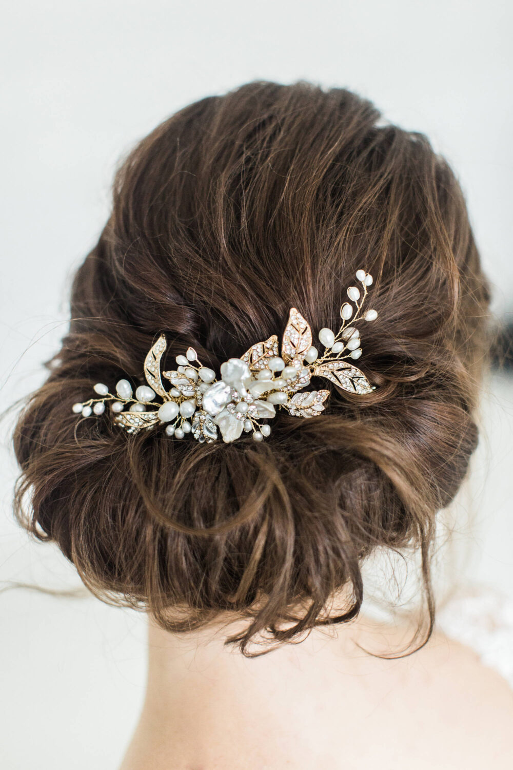 Wedding Hair Comb With Pearls, Gold Bridal Comb, Pearl Headpiece