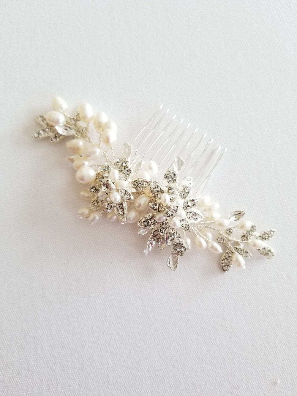 Freshwater Pearl Wedding Hair Comb, Crystal Bridal Comb For Bride