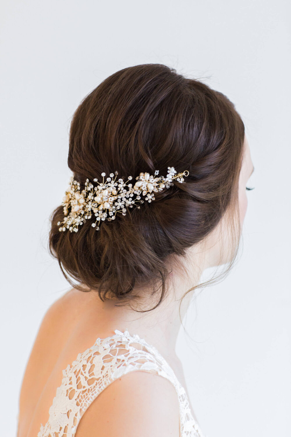 Gold Pearl Wedding Hair Comb, Freshwater Bridal Crystal Headpiece, Silver Comb