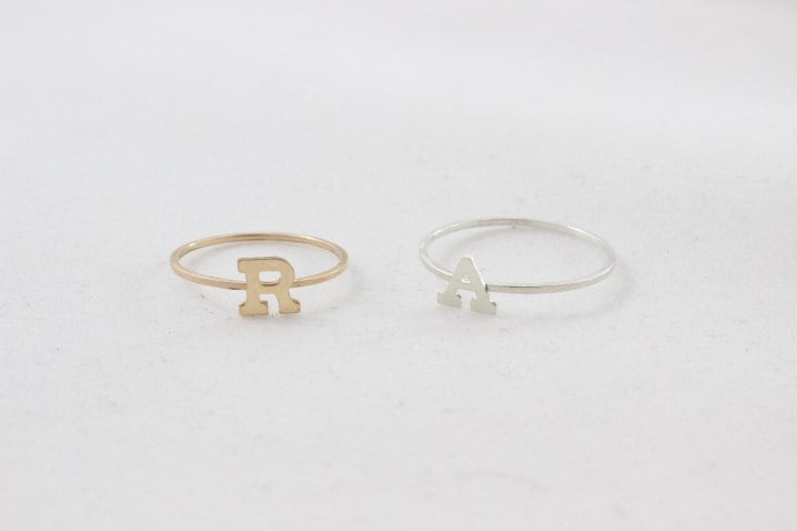 Initial Ring // 14K Solid Gold Monogram Or Sterling Silver Filled