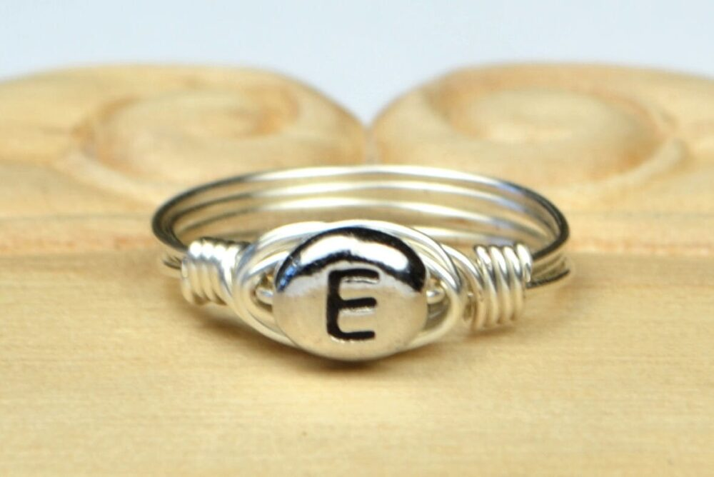 Letter E Monogram Initial Ring - Sterling Silver Filled Wire Wrapped Ring-Any Size - Size 4, 5, 6, 7, 8, 9, 10, 11, 12, 13, 14