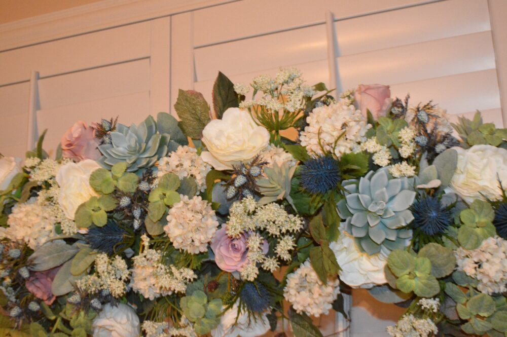 Bohemian Wedding Arch, Archway Swag, Ceremony Arch Flowers, Peony Rose Coral Mantle Swag
