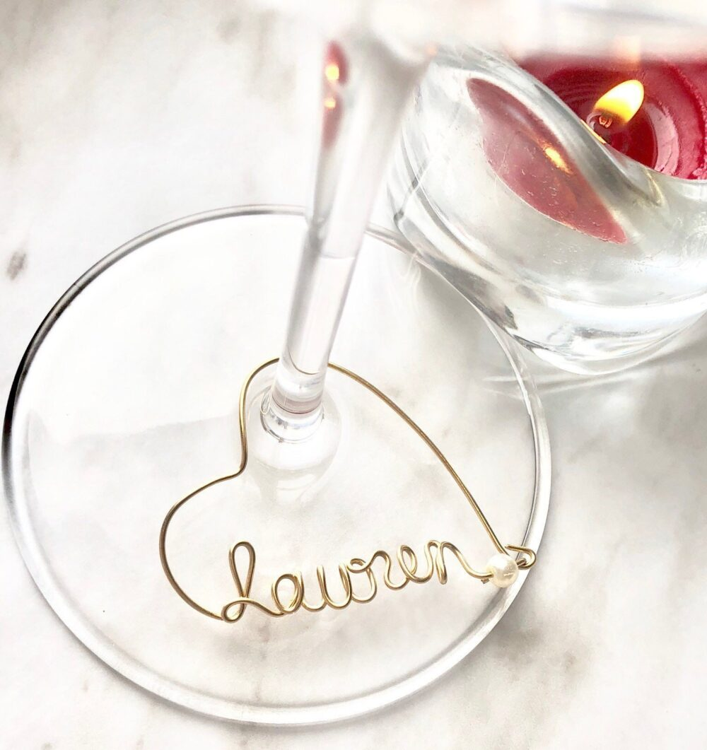 Personalized Wine Glass Charms. Wedding Favors. Bridesmaid Name Tags.k