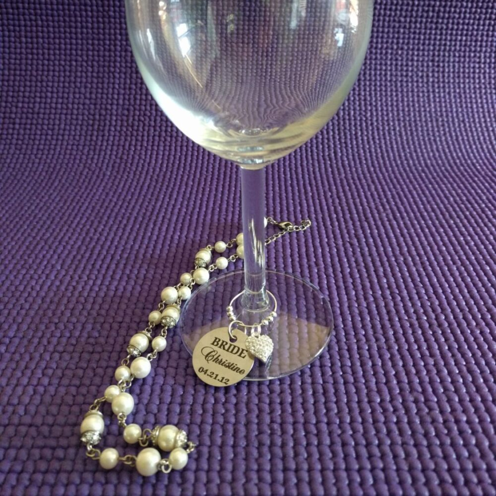 Personalized Wedding Wine Charm, Silver Beads, Rhinestone Heart Pendant, Favor, Bridesmaid Gift, Party Favors