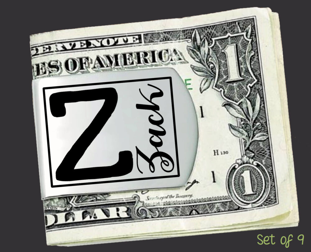 Set Of 9 Personalized Money Clips | Groomsmen Gifts Gift For Him Groomsman Mens
