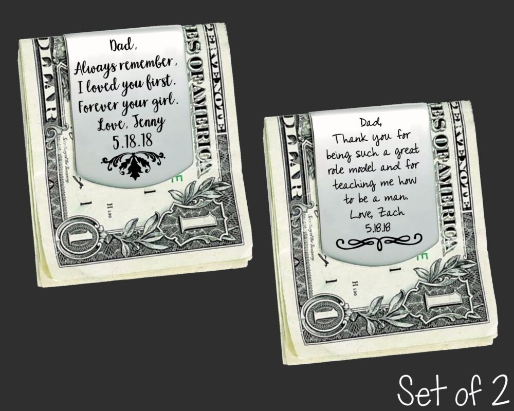 Set Of 2 Personalized Money Clips | Father The Bride/Groom Gift