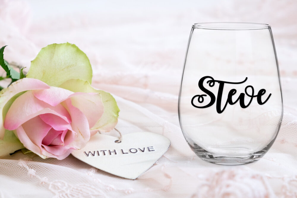 Personalised Name 8cm Decals For Wedding Engagement Birthday Baby Shower Easy To Apply Glass, Mug, Acrylic, Wood