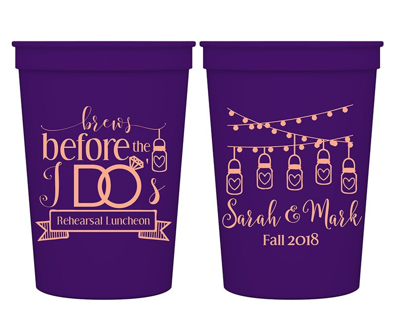 Barn Wedding Engagement Party Favors Personalized Cups Rustic Brews Before I Do's 2A